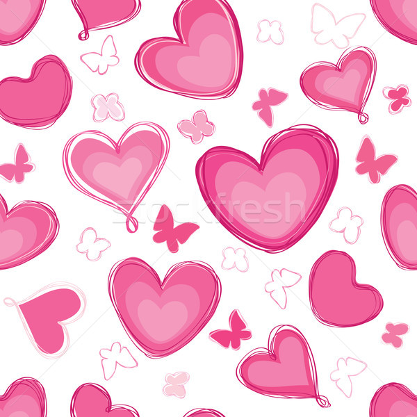 Doodle hearts different shape pattern. Love Valentine's day seam Stock photo © Terriana