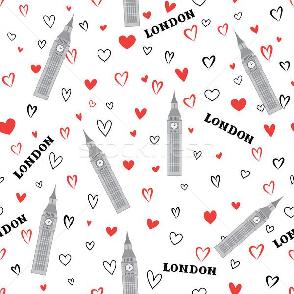 Travel London seamless pattern. British vacation wallpaper. Engl Stock photo © Terriana