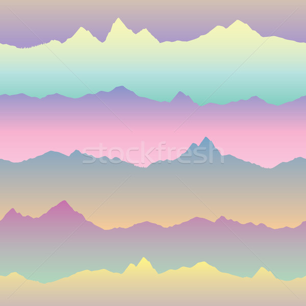 Abstract wavy mountain skyline background. Nature asian seamless Stock photo © Terriana