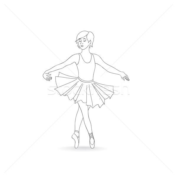 Girl dancing in ballet shoes and ballet tutu. Little ballerina i Stock photo © Terriana