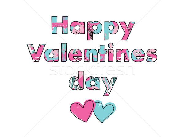 Valentin nap üdvözlőlap szeretet szívek absztrakt minta Stock fotó © Terriana