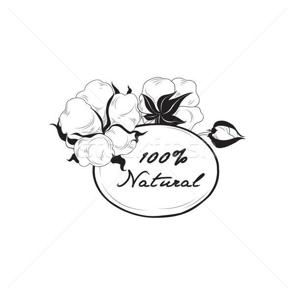 Pamut címke természetes anyag felirat virág Stock fotó © Terriana