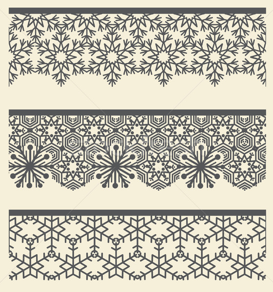 Floral arabic lacy seamless border. Snow line pattern set. Stock photo © Terriana