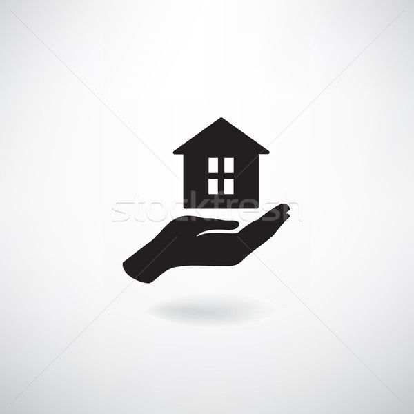 Home in hand. Housekeeping sign. Real Estate, insurance icon Stock photo © Terriana