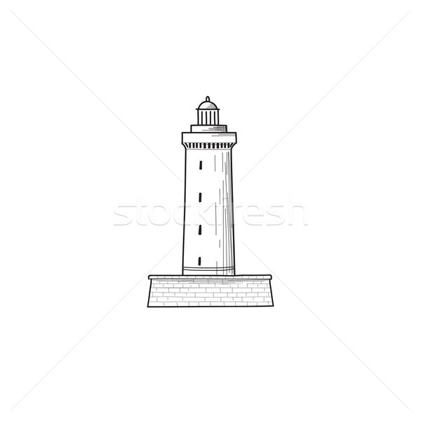 Lighthouse icon. Hand drawn sketch symbol of lighthouse tower. L Stock photo © Terriana