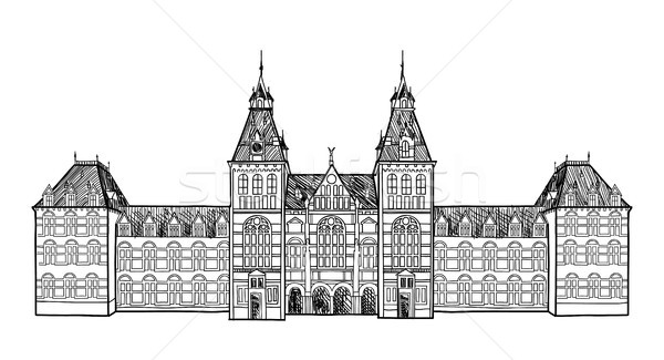 Amsterdam city landmark. Travel sign. Netherlands historic building. Hand drawn engraving Stock photo © Terriana