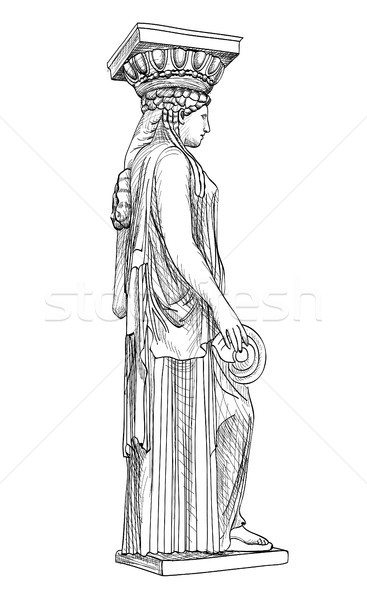 Caryatides statue. Pantheon famous column, Athens, Greece. Stock photo © Terriana
