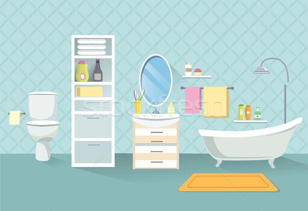Bathroom interior. Bath room furniture set. Stock photo © Terriana