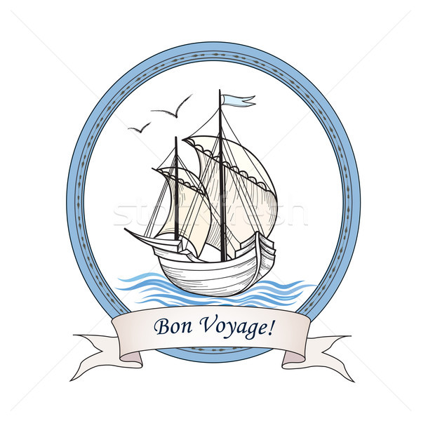 Sailing ship. Summer holiday Bon Voyage card. Sail boat transpor Stock photo © Terriana