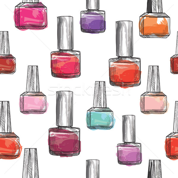 Nail polish bottle pattern. Beauty salon background. Love Manicu Stock photo © Terriana