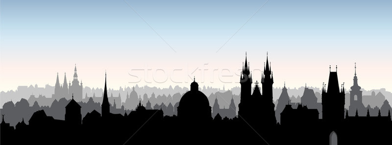 Prague city, Chezh. Skyline view. Cityscape with cathedral landmark building. Stock photo © Terriana