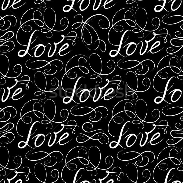 Calligraphic LOVE seamless pattern with vignette. Valentine's da Stock photo © Terriana