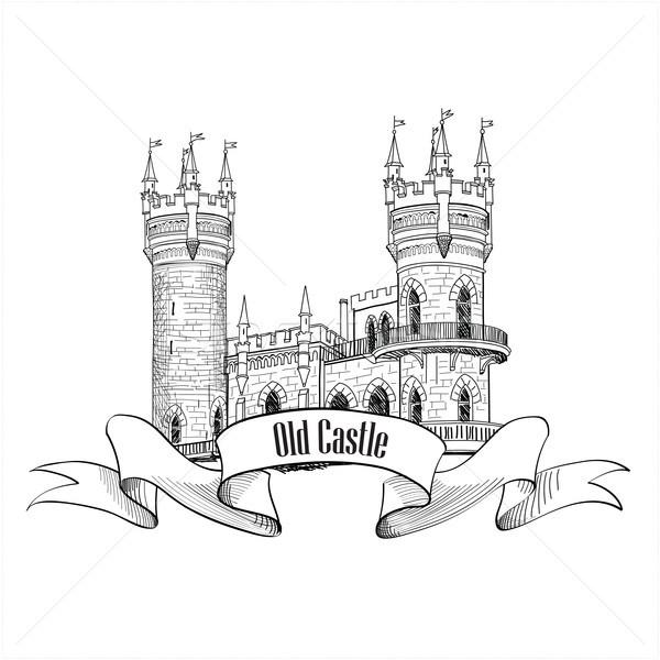 Castle logo. Retro vector building label.  Stock photo © Terriana