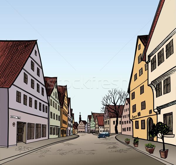 Impresión peatonal calle edad europeo ciudad Foto stock © Terriana