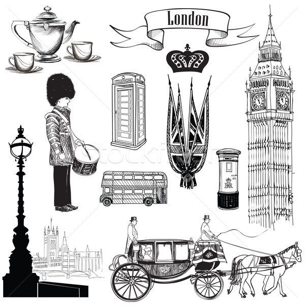 English icon set. London city symbols, Travel UK signs. Stock photo © Terriana
