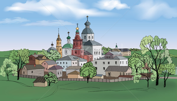 Russian Kostroma city kremlin landscape. Travel Russia background Stock photo © Terriana