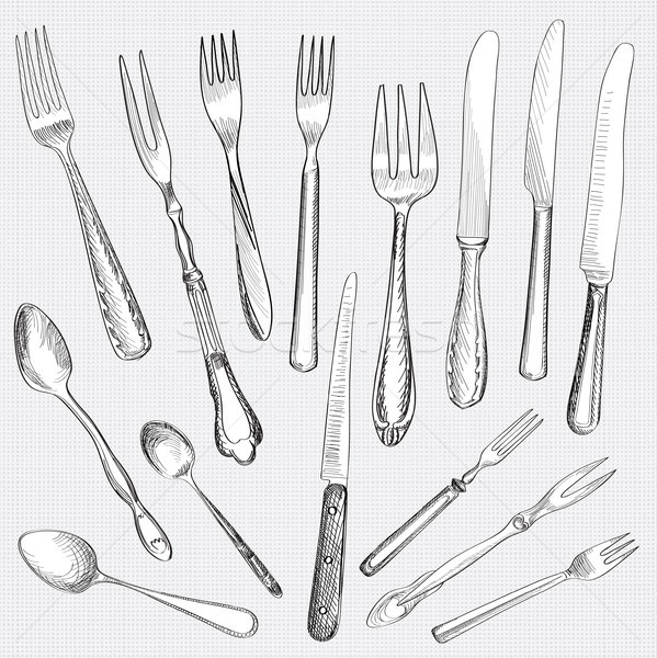 Table setting set. Fork, Knife, Spoon sketch. Cutlery collection. Stock photo © Terriana