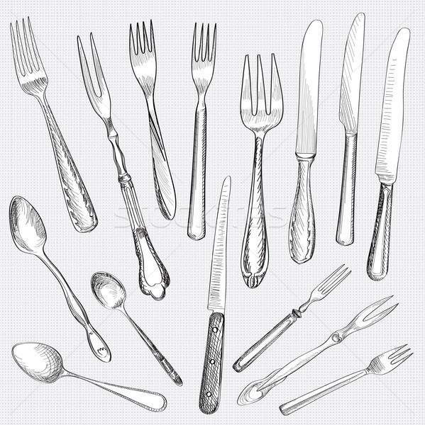 Tabeli zestaw widelec nóż łyżka szkic Zdjęcia stock © Terriana