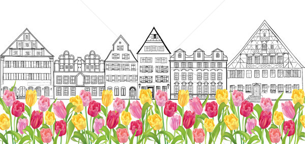 Amsterdam street landmark view. Buildings and tulip flowers. Travel Netherlands Background. Seamless Stock photo © Terriana