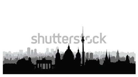Berlin city buildings silhouette. German urban landscape. Berlin Stock photo © Terriana