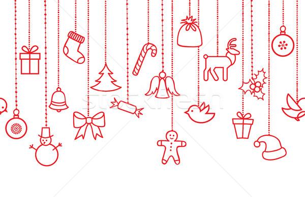 Christmas icon background. Holiday seamless border Stock photo © Terriana