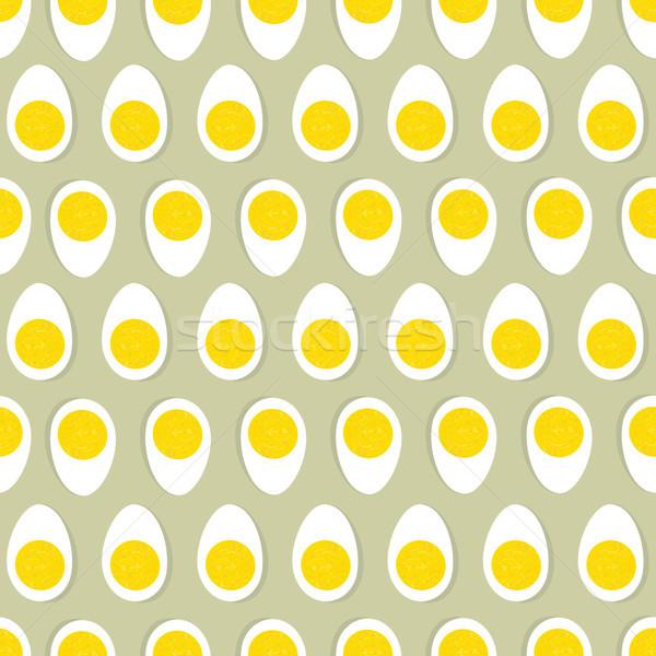 Fél tojás tojássárgája végtelenített dísz húsvét Stock fotó © Terriana
