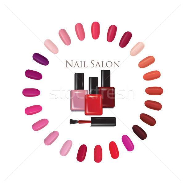 Beauty salon background. Nail polish palette bottle sign. manicur set Stock photo © Terriana