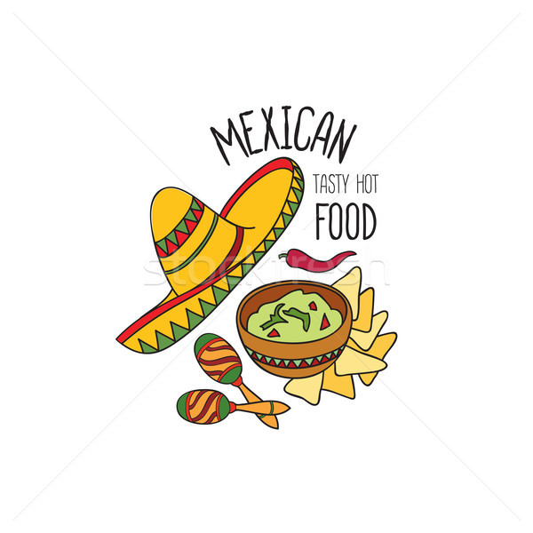 Mexican food symbol set. Fastfood sign. Guacamole, hat, musical icon. Traditional food icon. Stock photo © Terriana