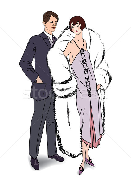 Couple fête homme femme robe de cocktail vintage Photo stock © Terriana