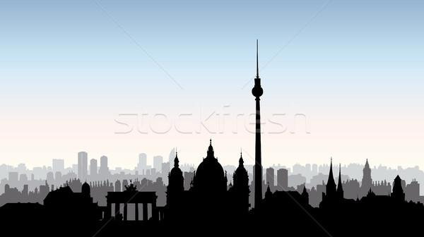 Berlin city buildings silhouette. German urban landscape. Berlin Stock photo © Terriana