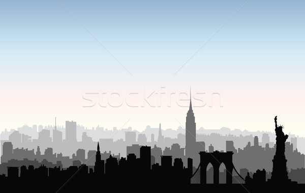 New York City bâtiments silhouette urbaine paysage Photo stock © Terriana