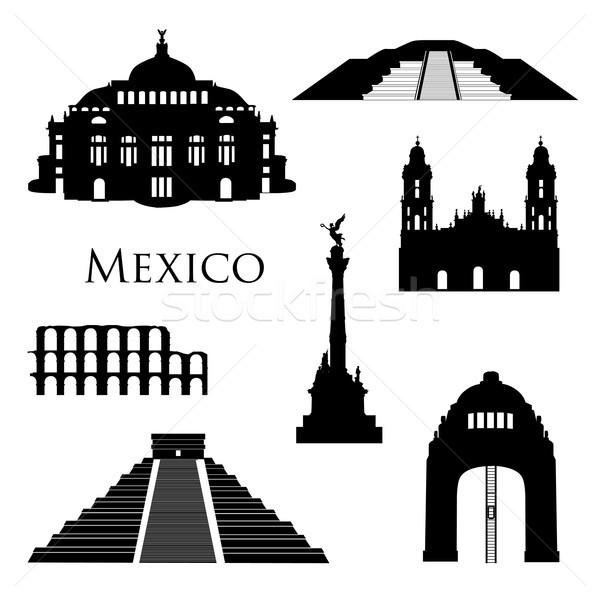 Mexikóváros ikon gyűjtemény híres épületek utazás feliratok Stock fotó © Terriana
