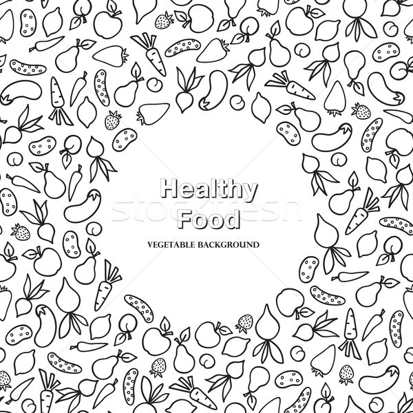 Vegetable frame pattern. Healthy food ingredient card background Stock photo © Terriana