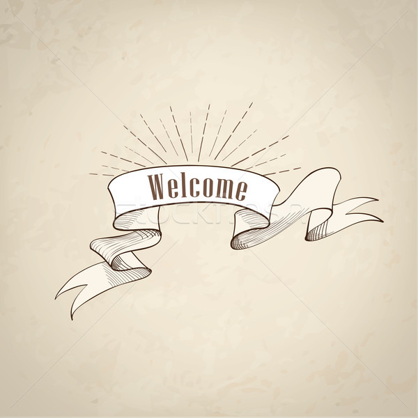 Welcome sign over ribbon, retro background. Vintage doodle banner Stock photo © Terriana
