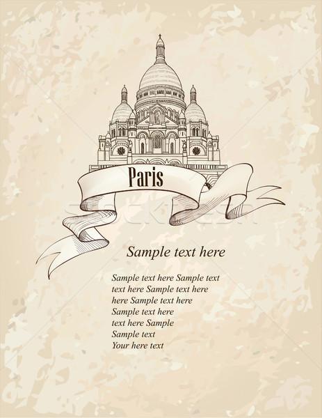 Paris city landmark background. Basilica of the Sacred Heart bui Stock photo © Terriana
