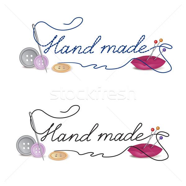 Hand made dress symbol. Needle, thread, sewing sign. Needlework Stock photo © Terriana