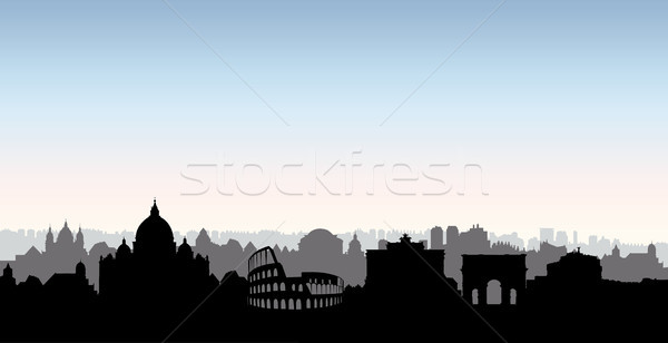 Rome city buildings silhouette. Italian urban landscape. Rome ci Stock photo © Terriana