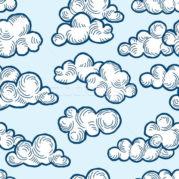 Chmura wzór gryzmolić line sztuki mętny Zdjęcia stock © Terriana