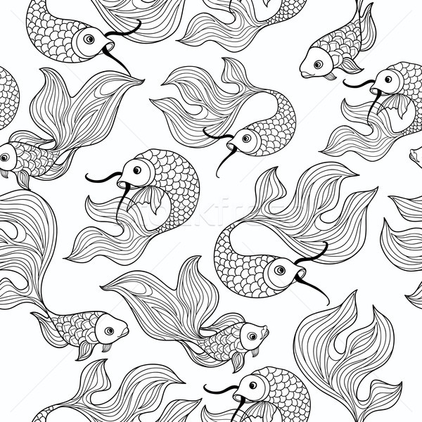 fish seamless pattern. Hand drawn doodle line decorative marine  Stock photo © Terriana
