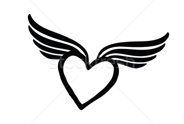 Love heart with wings. Valentine day icon. Lost love sign. Stock photo © Terriana