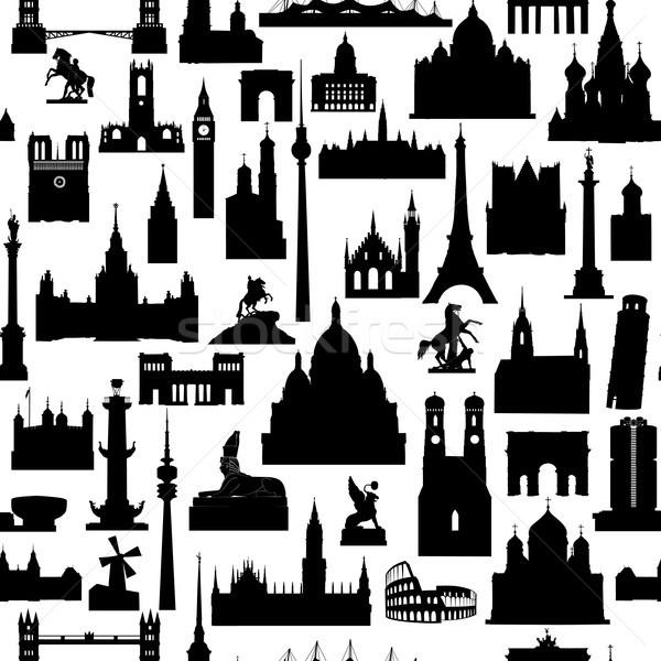 Travel world landmarks tile pattern. Travel sight icon set Stock photo © Terriana