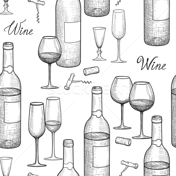 Stock photo: Drink wine seamless engrave pattern. Wine glass and bottle backg