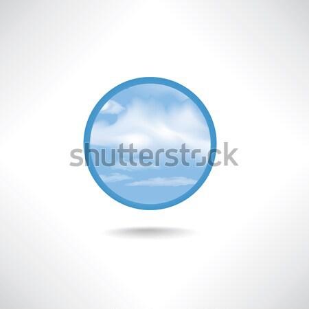 Chmura icon pogoda podpisania mętny niebo przycisk Zdjęcia stock © Terriana