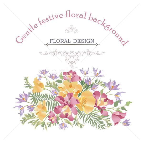 Virágmintás virágcsokor borító virágzik minta üdvözlőlap Stock fotó © Terriana
