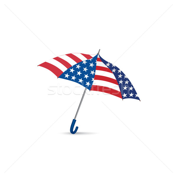 USA flag colored umbrella. Season american fashion accessory. Tr Stock photo © Terriana