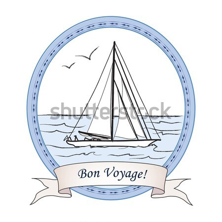 Summer holiday travel sign. Sailboat in sea view. Greeting card  Stock photo © Terriana