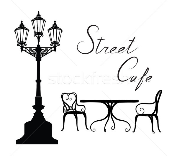 Street cafe - table, chairs, streetlight and lettering City life Stock photo © Terriana
