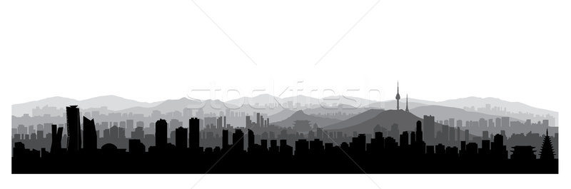 Seoul city skyline, South Republic of Korea. Korean urban skyline Stock photo © Terriana