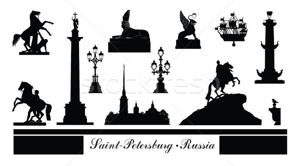 St. Petersburg city symbol set, Russia. Tourist landmark icons Stock photo © Terriana