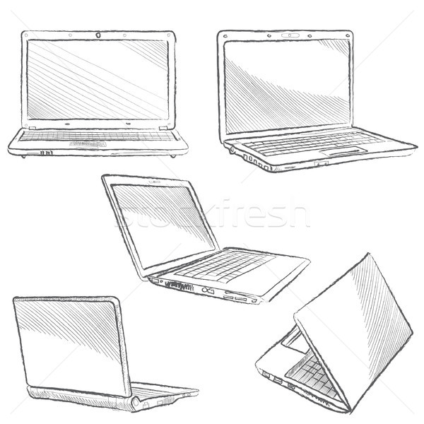 Laptop set. Computer hand drawn sketch doodle engraved illustration. Gadget different view isolated  Stock photo © Terriana
